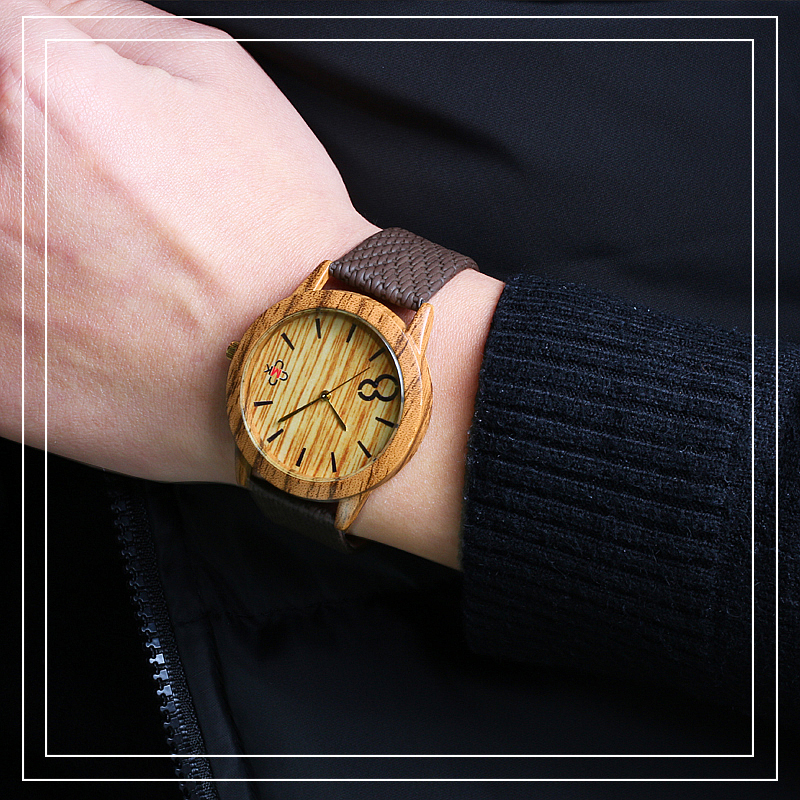 Vintage Mens Sports Watch Fashion Imitation Wood Grain dial