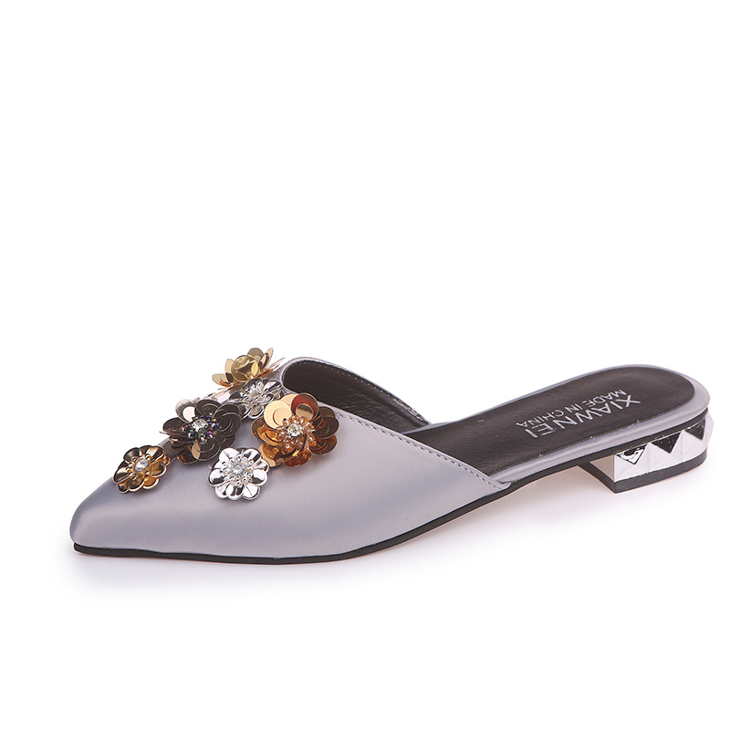 New Fashion Women Pumps Casual Women Slides Pointed Toe Low Heels Mules Slip-on Slippers Leisure Bling Flower 5pair 10pcs 5 pin 12mm male