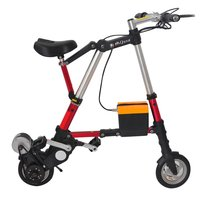8 Inch Mini Foldable Electric Bike With Bilateral Folding Pedal Belt Driving Portable Outdoor Sports Aluminum