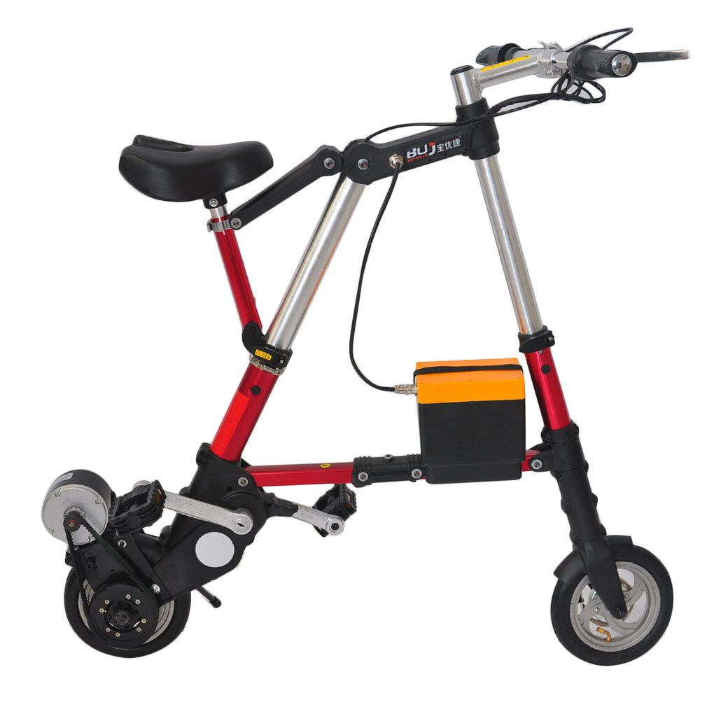 8 Inch Mini Foldable Electric Bike With Bilateral Folding Pedal Belt Driving Portable Outdoor Sports Aluminum Alloy Bicycle New