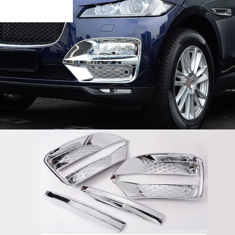 For Jaguar F-Pace f pace X761 Car-Styling ABS Chrome Front Fog Lamp Frame Cover Trim Accessories Set of 4pcs for jaguar f pace f pace x761 car styling abs chrome front fog lamp frame cover trim accessories set of 4pcs