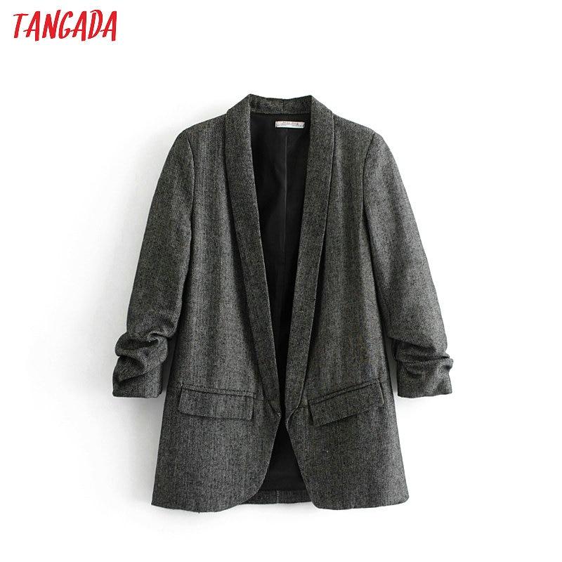 Tangada Korea Blazer Woman 2019 Pockets Pleated Three Quarter Sleeve Outerwear Ladies Dark Grey Jacket Casual Chic Tops DA01
