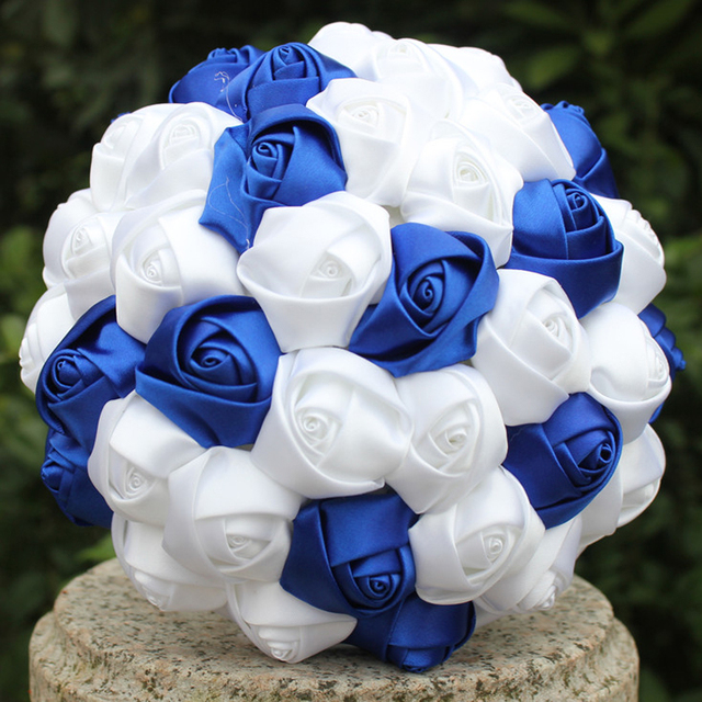 Wedding flowers wine red Royal blue Bridesmaid Bridal Bouquets ...