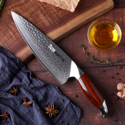 Cuchillos de cocina japoneses vg10, cuchillo de chef de acero damasco de 8 pulgadas, martillo artesanal con mango de palisandro, cocina maestra de individualidad