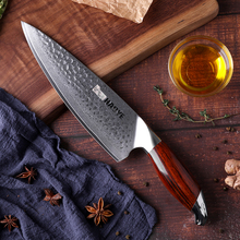 Japan kitchen knives vg10 damascus steel 8 inch chef knife handcraft hammer with rosewood handle individuality master cooking