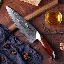 ญี่ปุ่นห้องครัวมีดVg10ดามัสกัสเหล็กมีดเชฟ8นิ้วHandcraftค้อนRosewood Handle Individuality Masterทำอาหาร