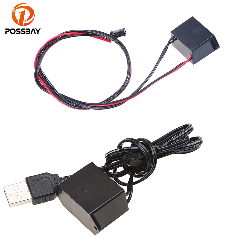 POSSBAY 5V USB <font><b>Controller</b></font> Inverter/12V <font><b>Car</b></font> Cigarette Output Connector for Glow Neon Light Strip Rope <font><b>EL</b></font> Wire image