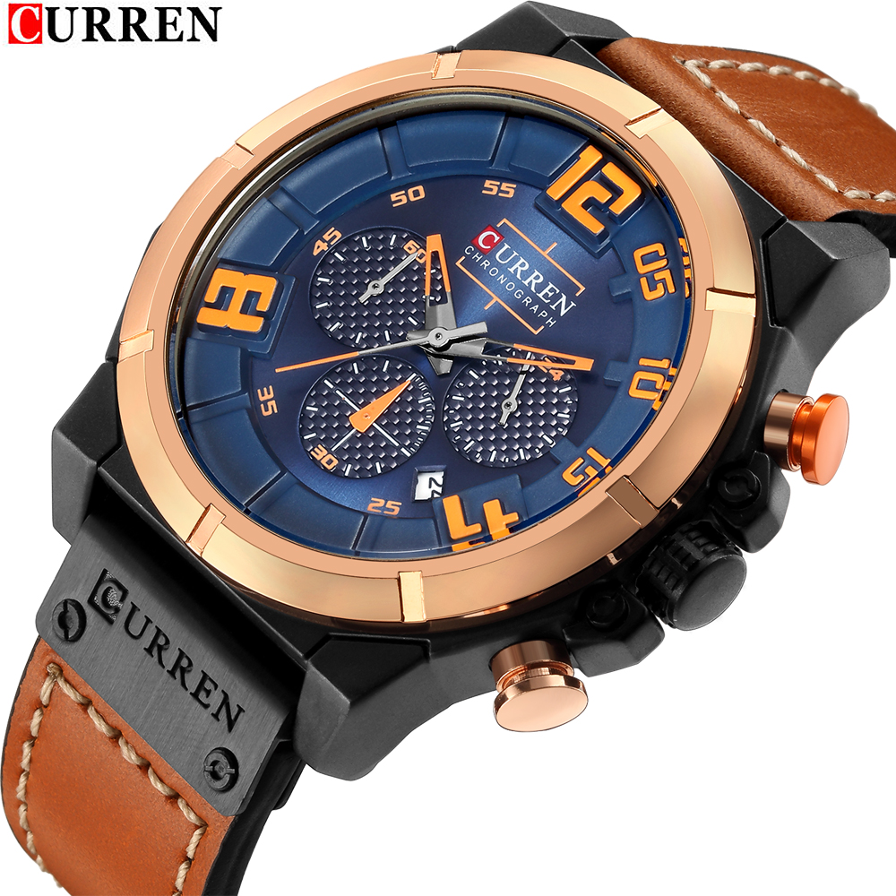 CURREN Top Brand Men's Fashion Sports Military Watches Chronograph Leather Mens Quartz Wristwatches Waterproof Relogio Masculino