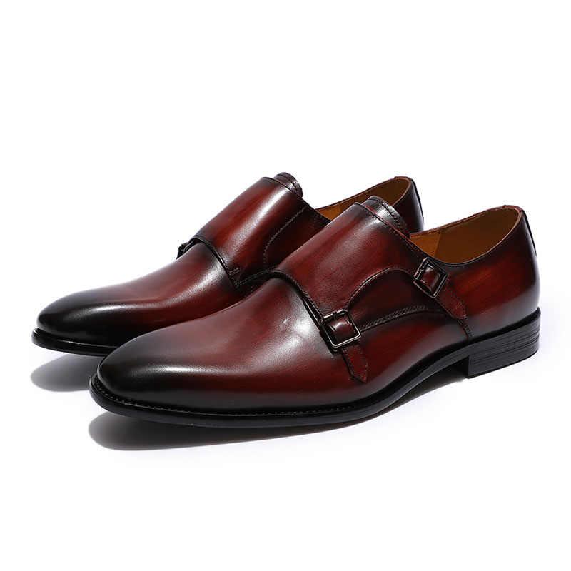 Klasik Hakiki Deri erkek Çift Keşiş kemerli elbise Ayakkabı Erkekler Siyah Bordo Parti düğün ayakkabısı Resmi Iş Ofis Ayakkabı