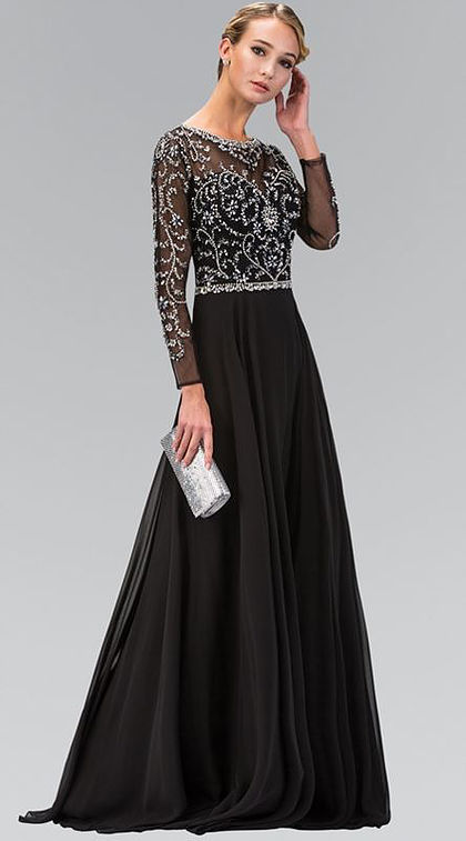 2017 Black Silver Long Sleeves Beaded Long Prom Dresses