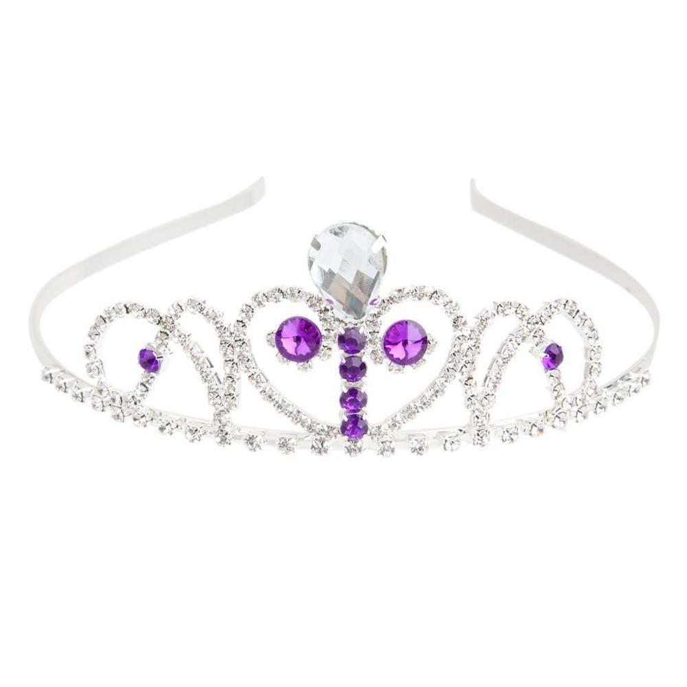 Wedding Bridal Diamante Rhinestone Purple Crystal Headband Tiara Headpiece 1