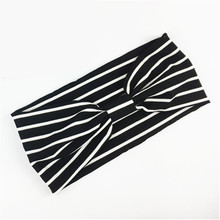 Leayh Simple Style Black White Striped Headbands For Women Stretch Sports Wide Head Hair Bands Headscarf Headdress