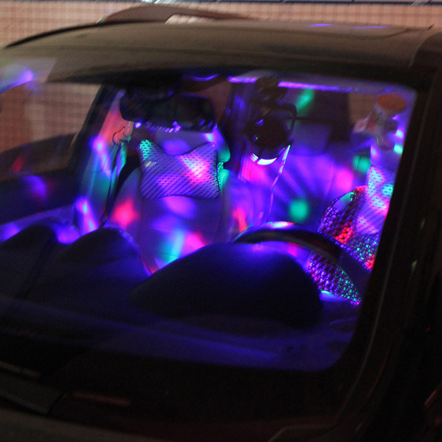 Outdoor Car Entertainment DJ Lights Sound Control LED Crystal Magic Ball USB Car Charging Cool Stage Lights Colorful Disco Ball 2