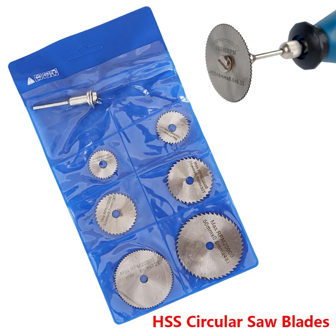 Portable 6Pcs Saw Blade +1pc Mandrel HSS Circular Rotary Blade Wheel Discs Mandrel For Dremel Wood Cutting Saw Tools