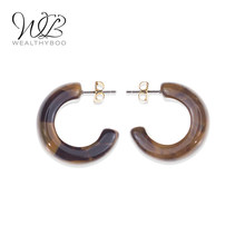 WEALTHYBOO 2018 New Arrival Cute Earring C Shape Opaque Resin Hoop for Women Fashion Jewelry(China)