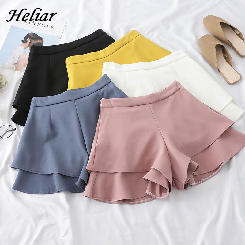 HELIAR Shorts Women A-line Flounce Hem Elegant Ruffles Wide Leg Elastic Waist Loose Casual Shorts 2020 Summer Shorts Women