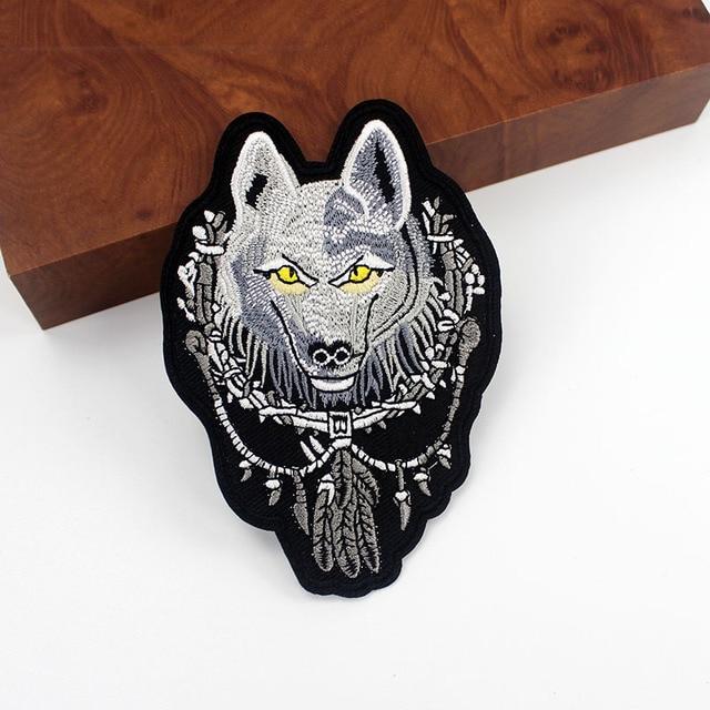 Badges brodés de grands loups | Autocollants frais et à la mode en tissu, autocollants faits à la main pour la décoration des vestes et des Jeans