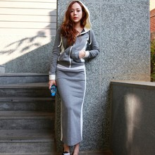 Spring Casual Tracksuit For Women Long Sleeve Hooded Sweatershirt + Bag Hip Split Skirts Fashion Korean Two Piece Set