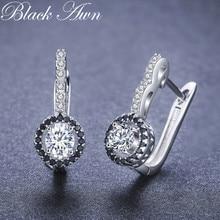 Black Awn Винтажные серьги-кольца из натуральной 925 пробы серебра для помолвки для женщин с черно-белые каменные украшения Bijoux TT001