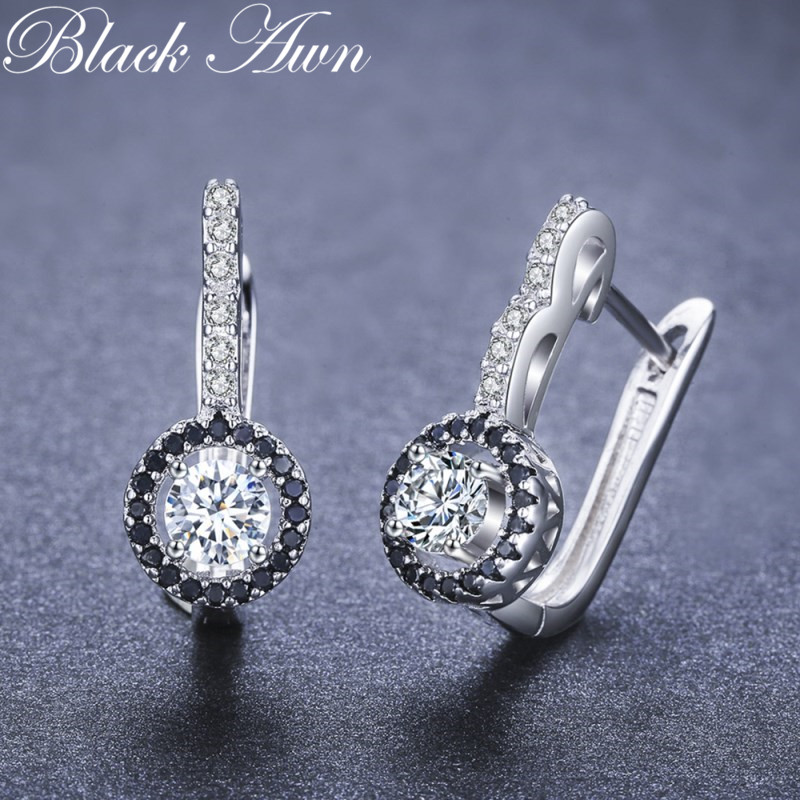 Black Awn Vintage Genuine 925 Sterling Silver Engagement Hoop Earrings For Women With Black&White Stone Jewelry Bijoux TT001
