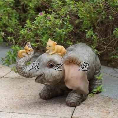 Résine petit éléphant chat et souris animal chanceux éléphant bienvenue carte décoration amoureux contracté joyeux noël maison