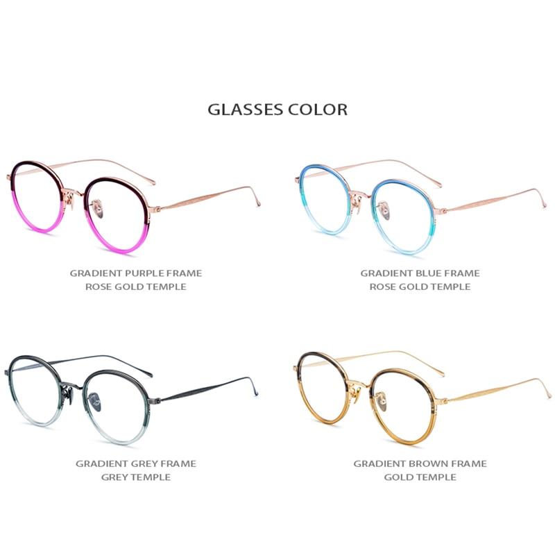 B Titanium Acetate Eyeglasses Frame Women Vintage Round Eye Glasses for Men Retro Myopia Optical Spectacles Japan Eyewear 1853 in Women 39 s Eyewear Frames from Apparel Accessories
