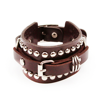 Vintage Men's Rivet Leather Bracelets Wrap Punk Rock Buckle Bracelet For Men and Women Pulseira Masculina Couro Jewelry Gift image