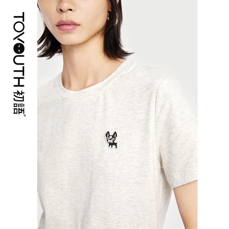 Toyouth 2019 Women Summer T-Shirt Casual Short Sleeve Cartoon Print Loose O-Neck Collar Shirt Female Cotton Tops