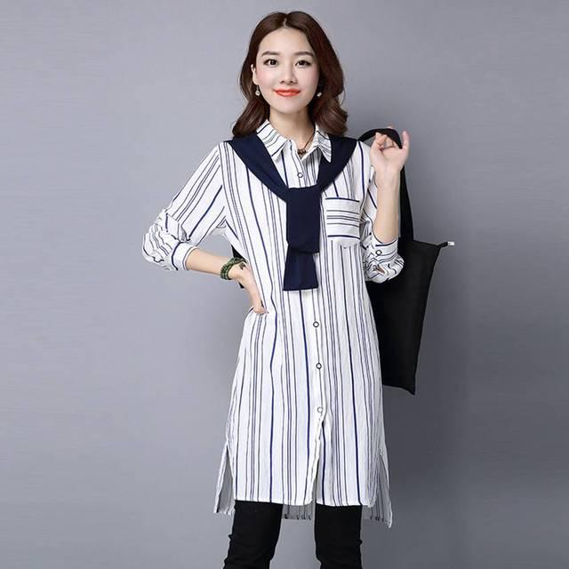 #1808 2017 Vintage Long shirt women Loose Striped Roupas feminina Korean Chemise femme Fashion Women shirt Fake two piece Kimono