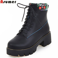 Asumer Fashion Spring Autumn Women Boots Lace Up Black Pink Ankle Boots Platform High Quality Pu