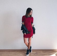 Burgundy Korean Bodycon Dress