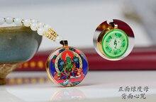 2PCS Greco-Buddhist pocket travel efficacious Mascot Safety Bless Green Tara Padmasambhava Guru buddha COPPER Pendant Amulet box