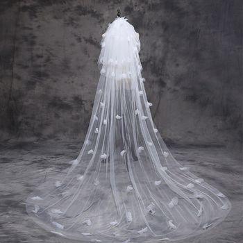 Tulle Wedding Dress Veils Fluffy White Flowers Petal Multi Layer Super Long Bridal Hair Veil Bride Fairy Marriage Accessories Bridal Veils