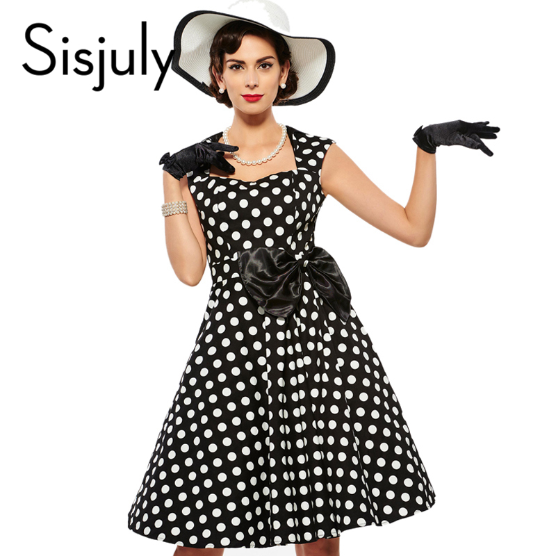 Sisjuly vintage dress 1950 s polka dot rockabilly estilo de gracia 2017 vestidos