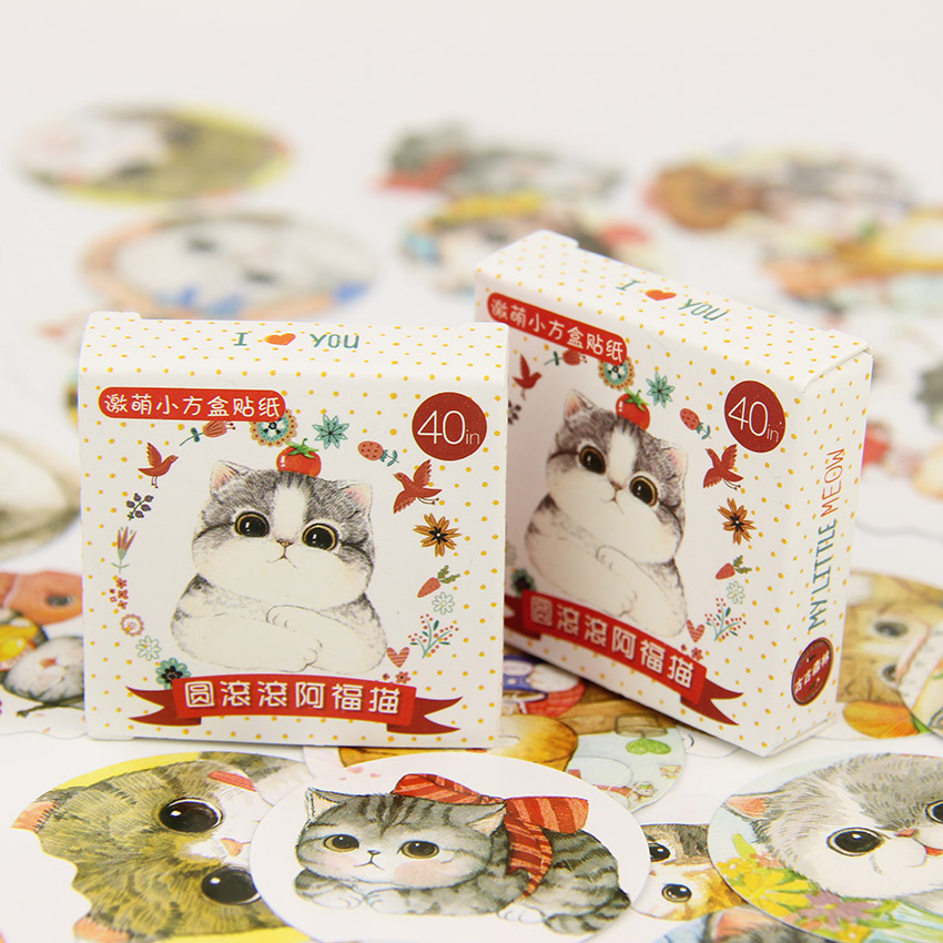 цены 40PCS/Lot Fat Cat Stickers Pack Kawaii DIY Scrapbook Sticky Stationery Material Escolar New School Supplies