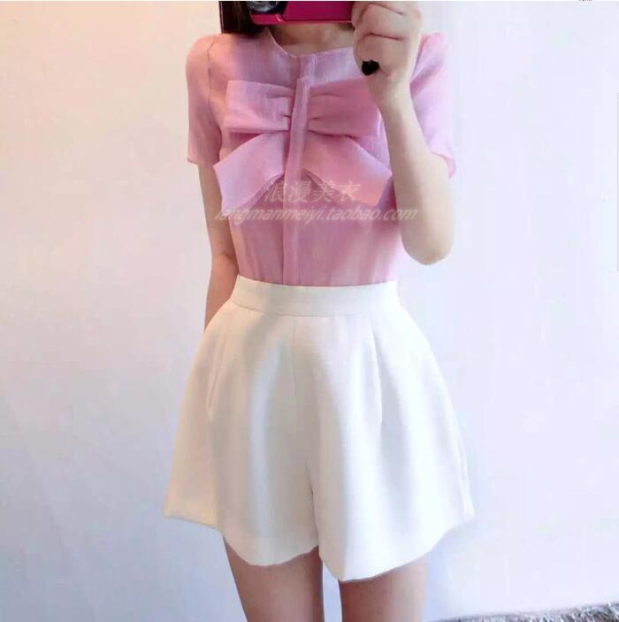 ▽women summer suits pink cute bow fashion t-shirt and solid zipper
