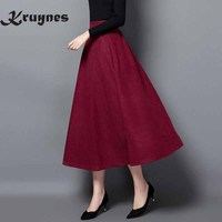 New Style Good Quality Winter Skirt 2017 Autumn Fashion Women S Long Woolen Skirts Big Buttom
