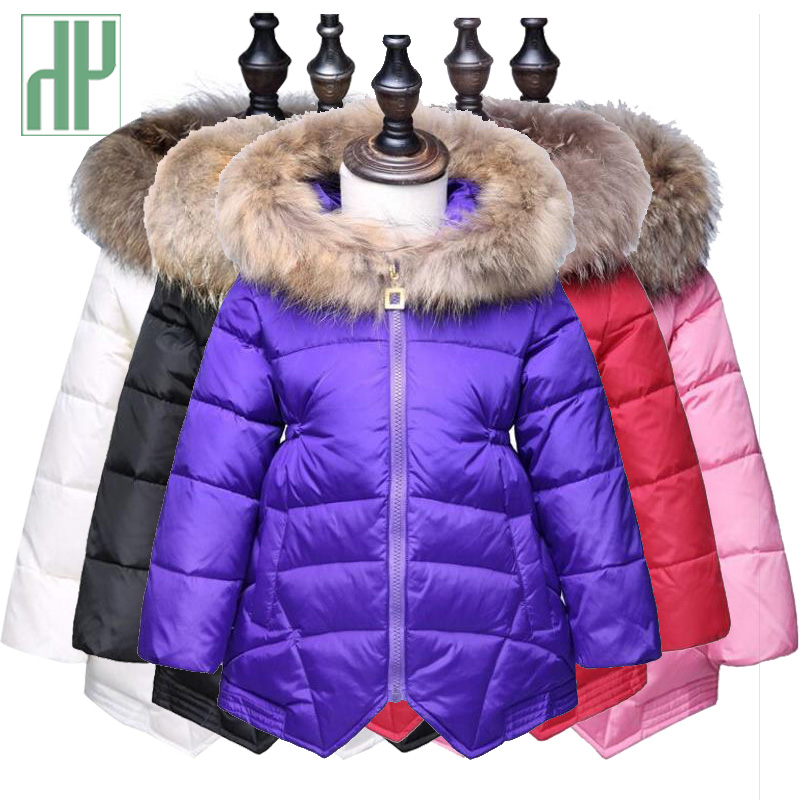 Winter jacket for girls Kids Warm Thick Fur Collar Hooded russian coat children outerwear snowsuit infants jackets 3 5 6 years 2017 new kids long parkas for girls fur hooded coat winter warm down jacket children outerwear infants thick overcoat 3t 14t