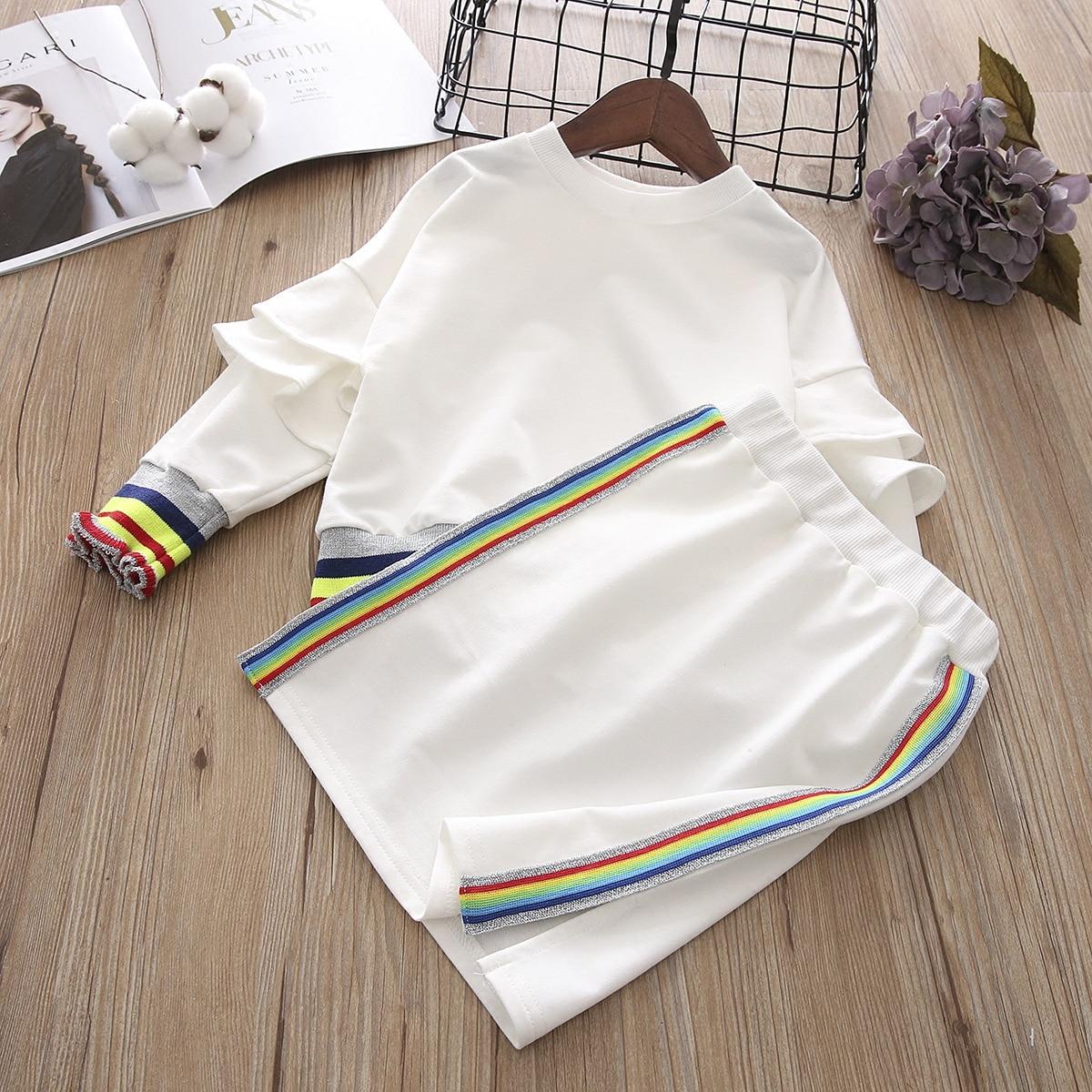 2018 new girl spring clothing set rainbow thread ruffled sleeve sweatshirts+hip skirts kids girls casual suits