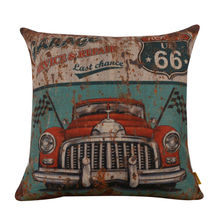 """LINKWELL 18x18"""" Retro Antique Rusted Green Garage Service Route 66 Burlap Cushion Cover Throw Pillowcase Accent Old Car"""