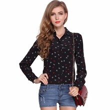 Women's blouses 2017 New Top female anchor shirts Printing large loose chiffon shirt lapel women long-sleeved shirt YWLY0910