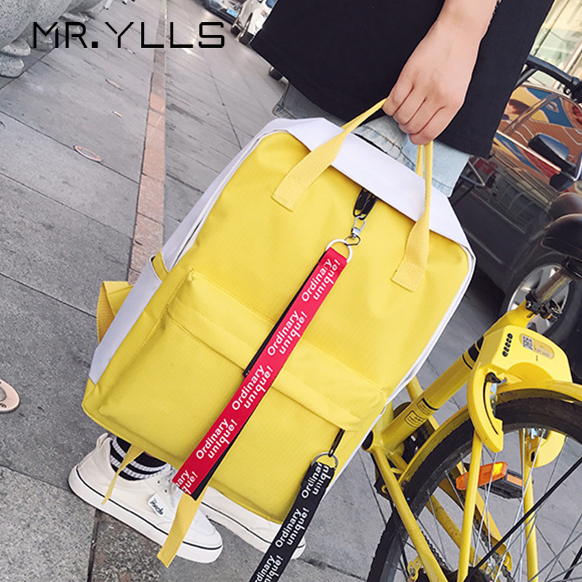 Harajuku Canvas Letter Print Backpack Woman Panelled Color School Bags Teen Girls Shoulder Bag Large Capacity Travel Backpack