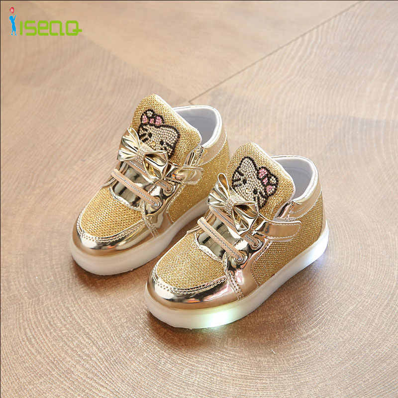 b1f120ab7 ... Одежда для девочек светящиеся кроссовки дешевле обувь весна Hello Kitty  со стразами светящиеся обувь для девочек ...