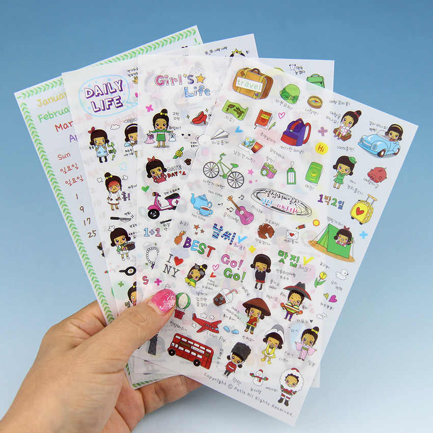 4PCS New Cute Stationery Sticker for Diary Scrapbook Book for Decoration Transparent Cartoon Girl Stickers