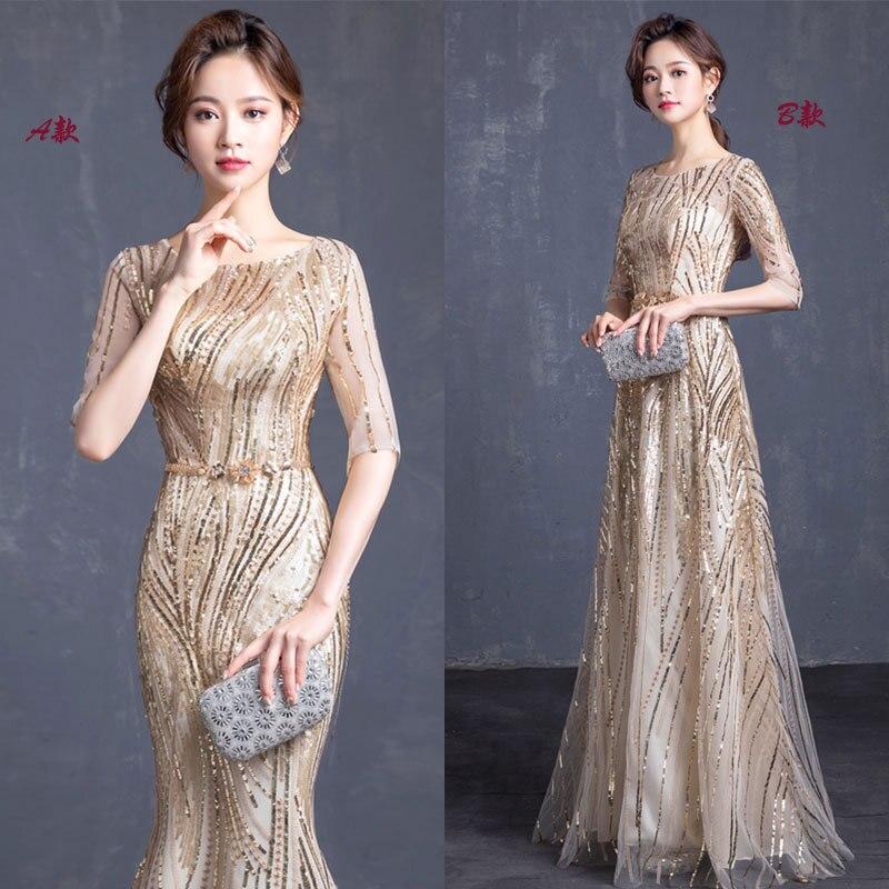 Sexy Slim Champagne Mesh Gold Glitter Fishtail Skirt Dress Improved Cheongsam Chinese Style Evening Dress Vestidos Size S-3XL
