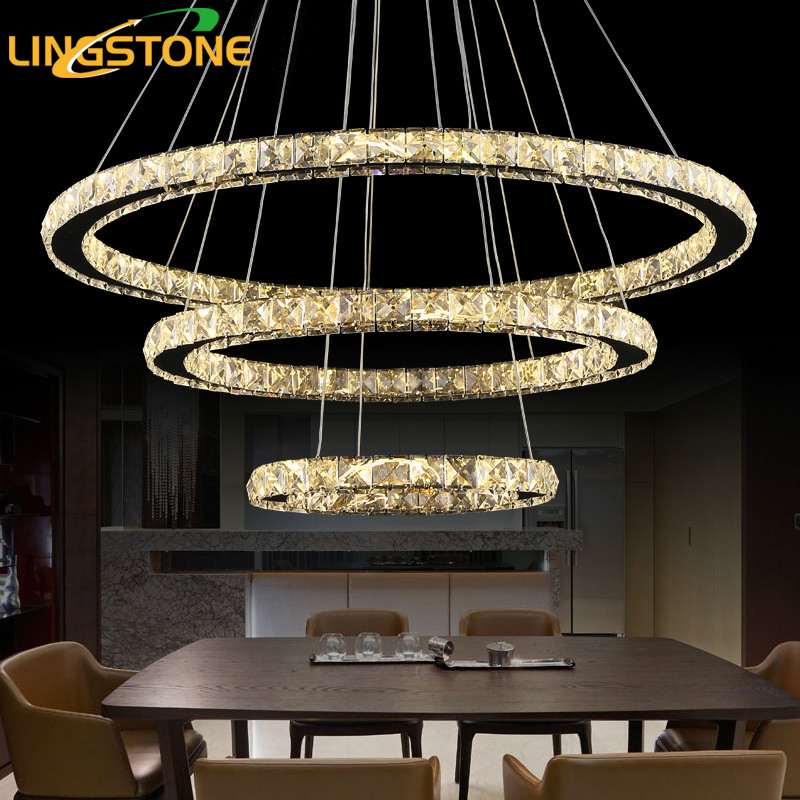 Modern Led Crystal Pendant Lights for Living Room Hanging Lamp Kitchen Bedroom Dining Room with Remote Control Light Fixtures