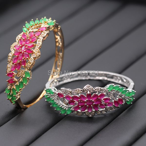 Gorgeous Hollow out Charm Gold Color Red Green Zircon Bracelet Bangle For Women Wholesale