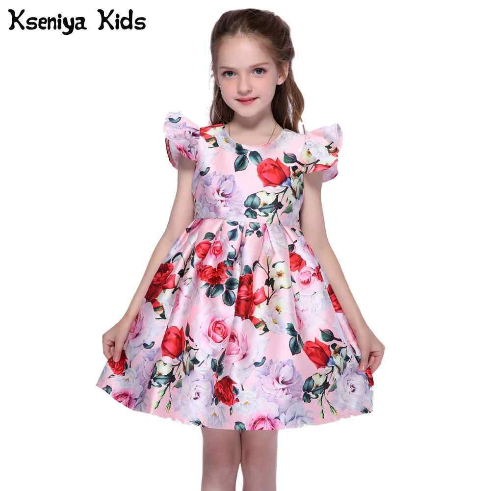 f95b8eb84ce Kseniya Kids Big Little Girls Print Dresses Autumn Winter Butterfly 2  Layers Girl Princess Dress Ribbons