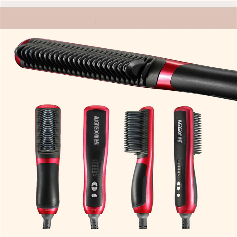 kingdom electric fast heating hair straightener Iron Brush Hairstyling Straighter Comb ceramic digital styling salon hairbrush image
