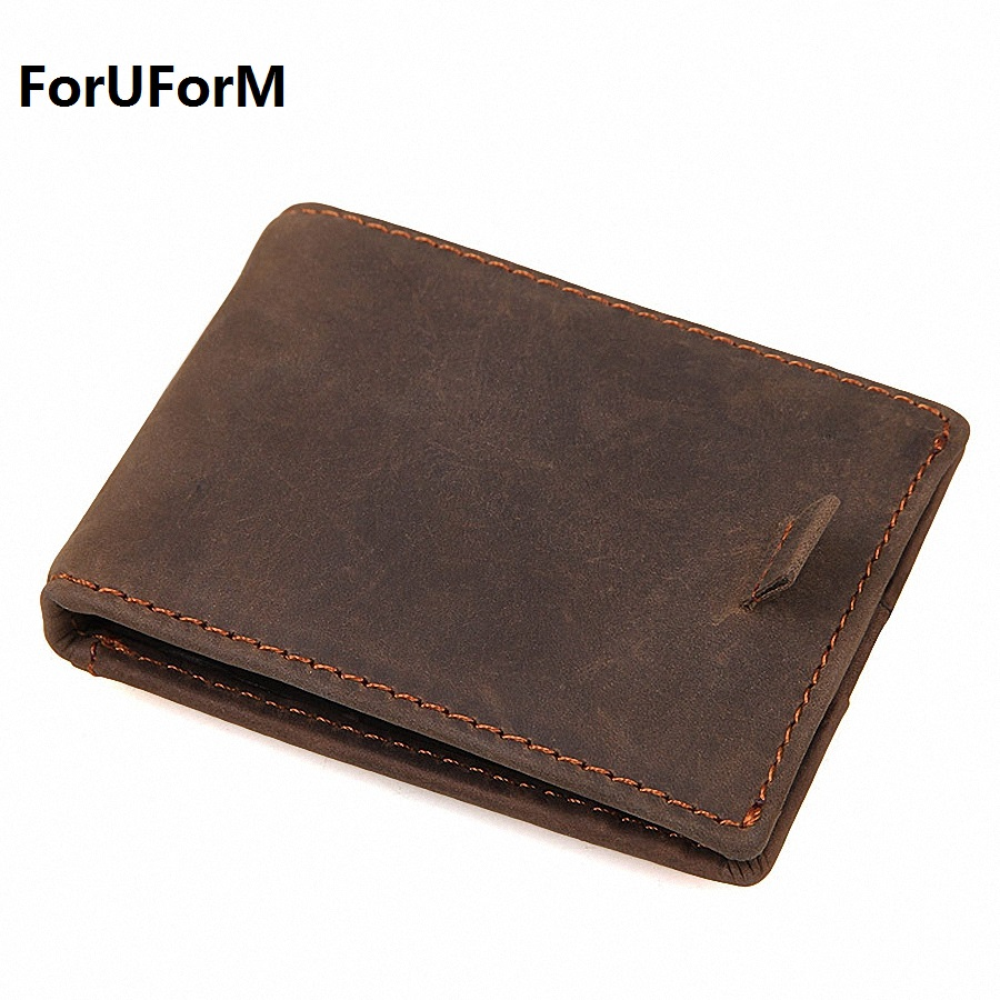 Real Leather Wallet Men Organizer Wallets Vintage Genuine Leather Cowhide RFID Short Men's Wallet Purse With Card Holder LI-1875 2017 new cowhide genuine leather men wallets fashion purse with card holder hight quality vintage short wallet clutch wrist bag